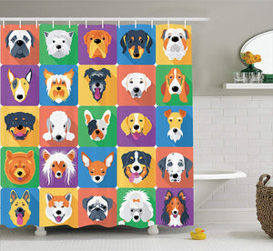 Long Shower Curtain Dog Lover Decor, Dog Breeds Profiles Pets Shepherd Terrier Labrador Domestic Animals Illustration