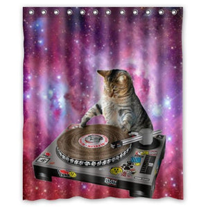 Cool Galaxy DJ Cat Funny Animal Pet Design Mildew Proof Polyester Fabric Shower Curtain with Rings