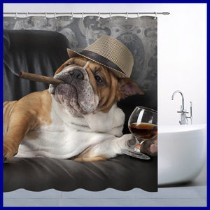 Funny Dog Shower Curtain Cute Pet BROWN Bulldog W Cigar & Champagne Bathroom Cur