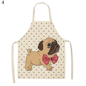 1PC 47x38cm/68x55cm Cotton Linen Animal Printed Kitchen Aprons For Women Cat Dog Print Home Kitchen Cooking Waist Bib Pinafore