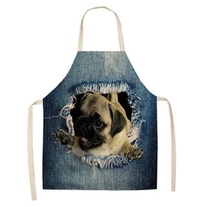 1Pcs Cat Dog Pattern Kitchen Aprons Cotton Linen Unisex Dinner Party Cooking Bibs Funny Pinafore Cleaning Tools 53*65cm A1118