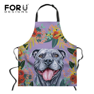 FORUDESIGNS Pink Floral Cat Dog Print Chef Cooking Apron Anti-oil Kitchen Cooking Waist Bib Aprons for Women Men Baking