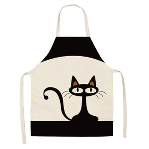53*65cm Dog Cat Printing Kitchen Aprons Unisex Dinner Party Useful Cooking Waist Bib Cotton Linen Funny Pinafore Cleaning Tool