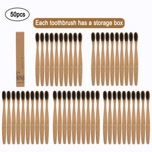 50pcs Eco-Friendly Natural Bamboo Tooth Brush Toothbrush Soft Capitellum Fiber Toothbrush Bamboo Tooth Brush Oral Care Supplies