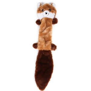 peluche Squeak Toys,Skinny Peltz No Stuffing Squeaky Plush Dog Toy, Fox, Raccoon, and Squirrel - Large Dog supplies