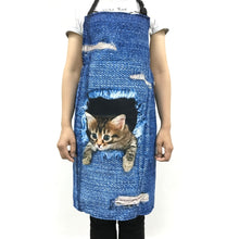 FORUDESIGNS Cute 3D Denim Cat Apron for Women Men Funny Blue Denim Dog Kitchen Sleeveless Apron Home Cleaning Cooking bbq Aprons