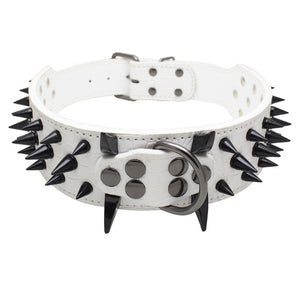"Global Baby 2"" Width Spike Studded Dog Collars 4 Sizes 7 Colors Strong Leather Large Big Dog Pet Collars"