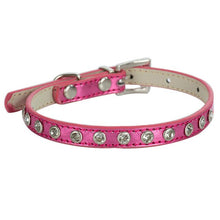 Dog Collar - Fashionable Pink/Purple Leather With Rhinestones