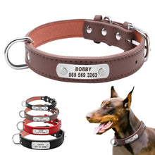 Large Durable Personalized Dog Collar PU Leather Padded Pet ID Collars Customized for Small Medium Large Dogs Cat 4 Size