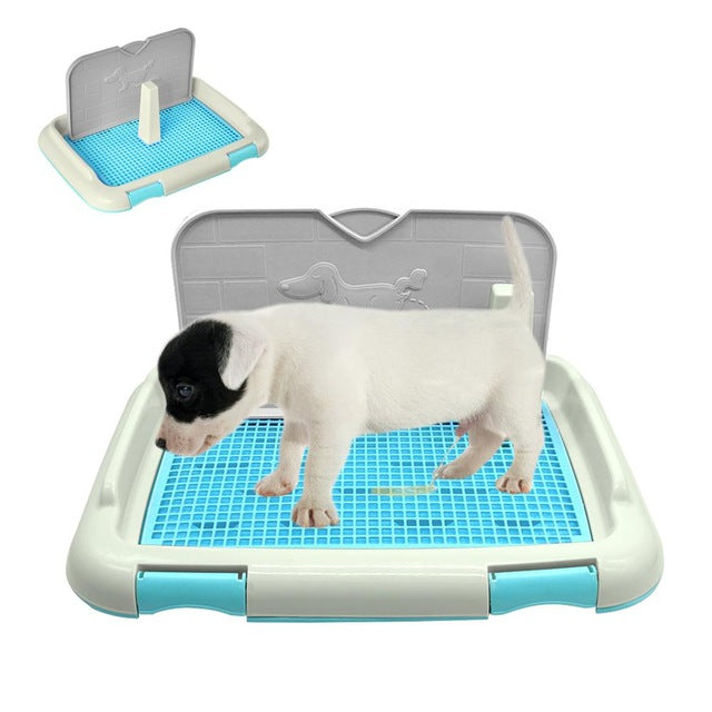 Adeeing Portable Pet Dog Cat Toilet Tray with Column Urinal Bowl Pee Training Toilet
