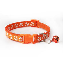 1pcs Pet Collar with Bell Lovely Small Footprint Flower Adjustable Strap Nylon Fabric Puppy Teddy Cat Kitten collier chien