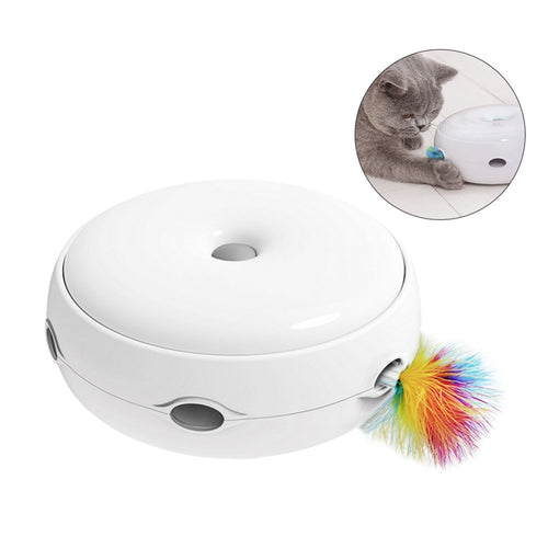 CC Electric Cat Toy Smart Teasing Cat Stick Crazy Game Spinning Turntable Cat Catching Mouse Donut Automatic Turntable Cat Toy