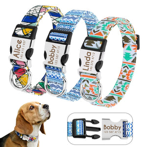 Dog Collar Custom Printed Dog Tag Collar Perro Personalized Nylon Pet Puppy Cat  ID Collars Engraved For Medium Large Dogs Pug