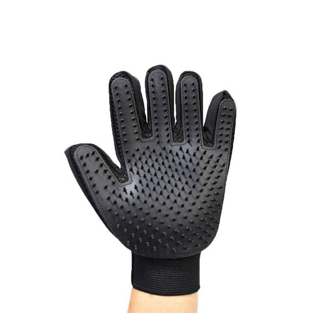 Pet Grooming Gloves Dog Cat Hair Cleaning Brush Comb Black Rubber Five Fingers Deshedding Pet Glove for Dog Cat Drop Ship