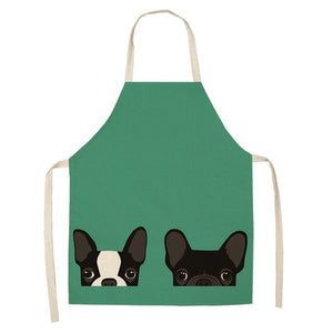 1Pcs Cute Cartoon Dog Cat Printed Cotton Linen Kitchen Aprons Home Cooking Baking Coffee Shop Cleaning Accessory 53*65cm MA0001
