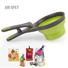 Portable Pet Food Container Folding Silicone Dog Bowl Feeder Dogs Feed Storage Tool Measuring Cup Spoon Sealing Clip Sealing