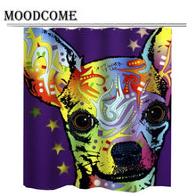 Chihuahua dog bathroom shower curtain cartoon 3d new arrival women pet dog curtain for bathroom