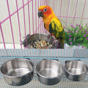 1Pcs Birds Feeders Parrot Stainless Steel Cups Container With Food Bowl For Macaw Greys Parakeet Cockatiel Bird cage accessories