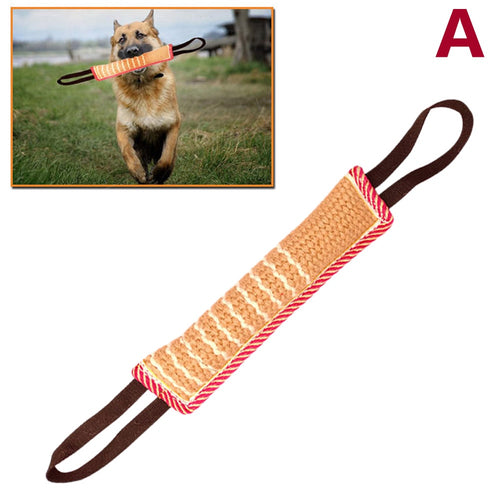 1 Pcs Dog Tug Toy Bite Pillow Strong Pull Toy Dog Training with 2 Rope Handles LBShipping