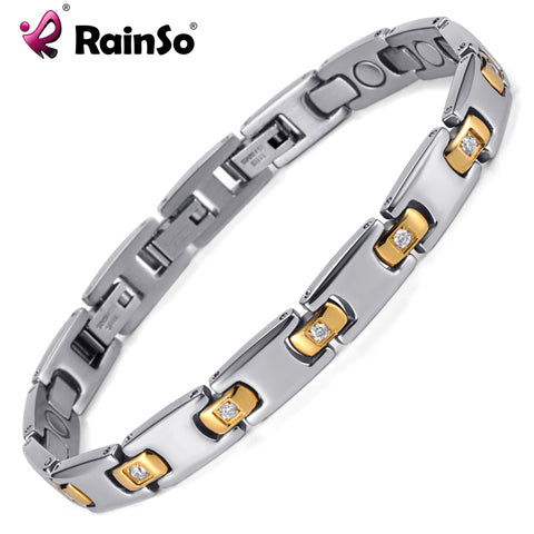 Magnetic Therapy Titanium Metal With Crystal Silver Plated Bracelet