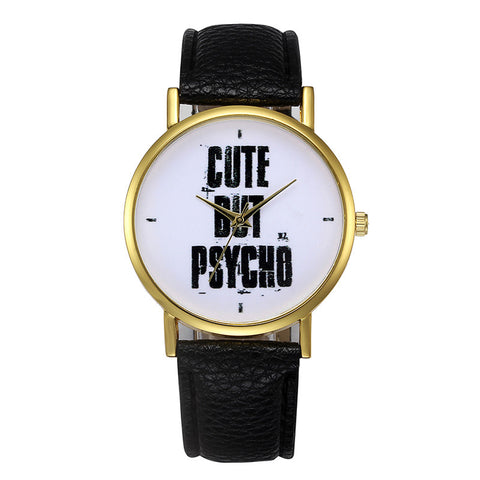 'Cute But Psycho' PU Leather Band Quartz Watch - Necessities Australia