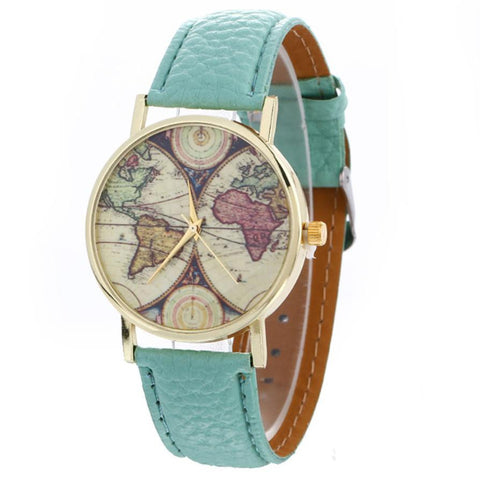 Faux Leather Strap World Map Pattern Quartz Watch - Necessities Australia