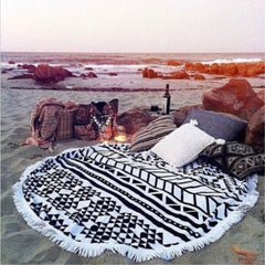 Microfibre Adults Round Printed Beach Towel with Tassels