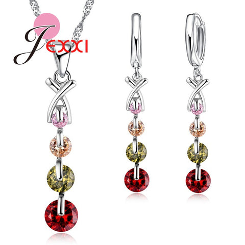 925 Sterling Silver Austria Crystal Pendant Necklace & Earring Set - Necessities Australia