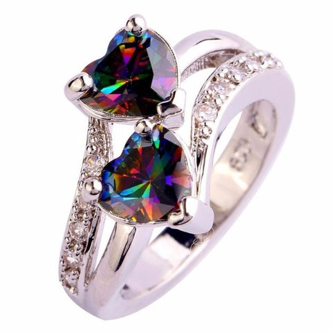 Double Heart Cut Rainbow & White Gemstone Silver Ring