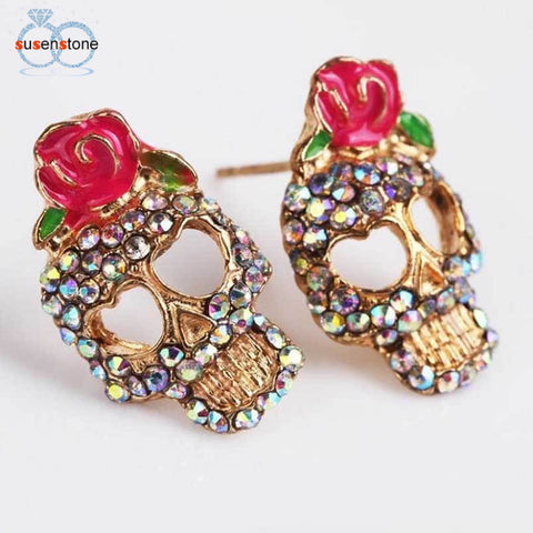 Cute Pink Rose Rhinestone Skeleton Skull Studs Earrings