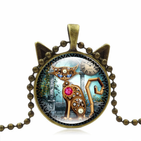 Cute Mechanical Cat Art Picture Pendant Chain Necklace