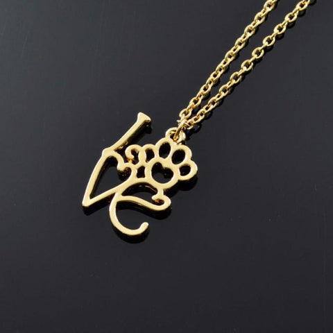 Hollow Love Letter Dog Paw Gold Chain Necklace
