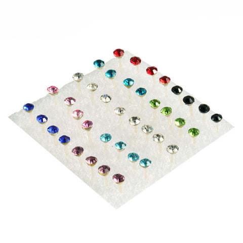 20 Pair 5mm Clear/Multi-colour Crystal Studs Earrings - Necessities Australia