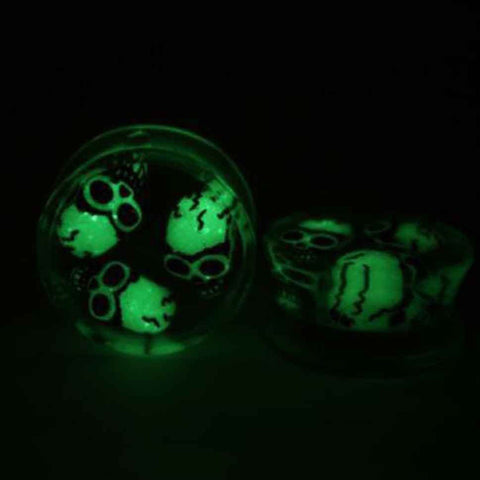 1X Luminous Skull Ear Tunnel Stretcher - Necessities Australia