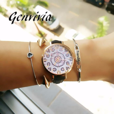 GENVIVIA Floral Pattern Dress Watch - Leather Band, Buckle - Necessities Australia