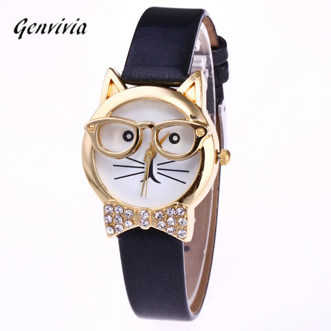 Cute Glasses Cat Analogue Quartz Dial Bracelet watch - Necessities Australia