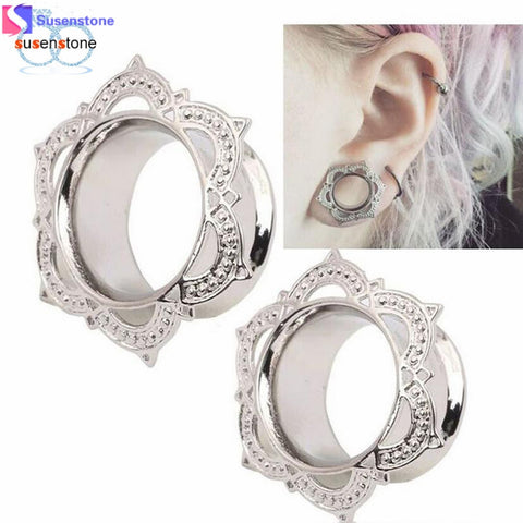1 Pair New White Brass Ornate Tunnel Ear Plug - Necessities Australia
