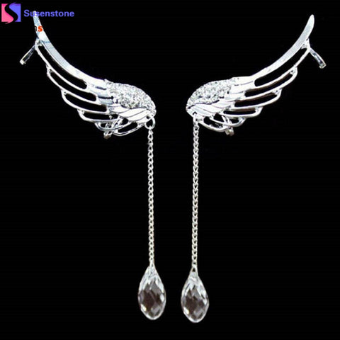 Elegant Angel Wing Crystal Drop Earrings
