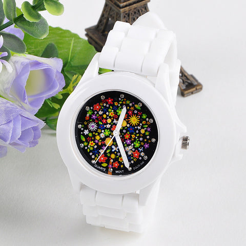 Fashion Silicon Flower Rubber Gel Sports Watch - Necessities Australia