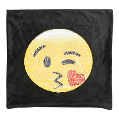 Changing Face Emoji Cushion Cover - Reversible Sequins, Magic Pillow - Necessities Australia