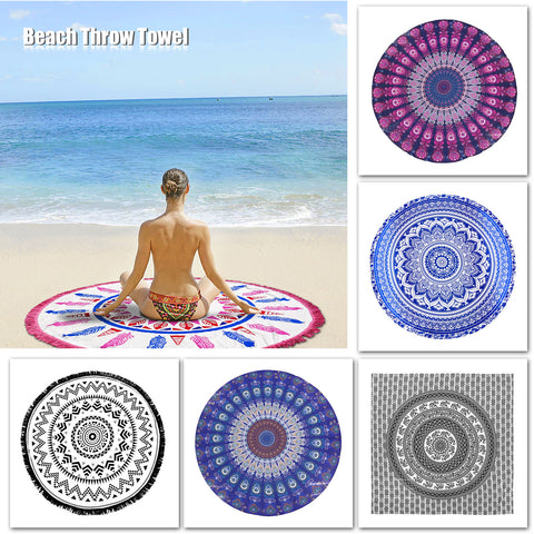 Multi-functional Geometric Round Beach Throw Towel with Tassels