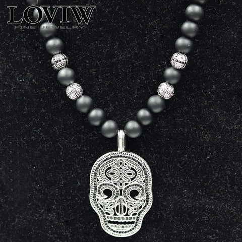 925 Sterling Silver Skull Beaded Necklace - Necessities Australia