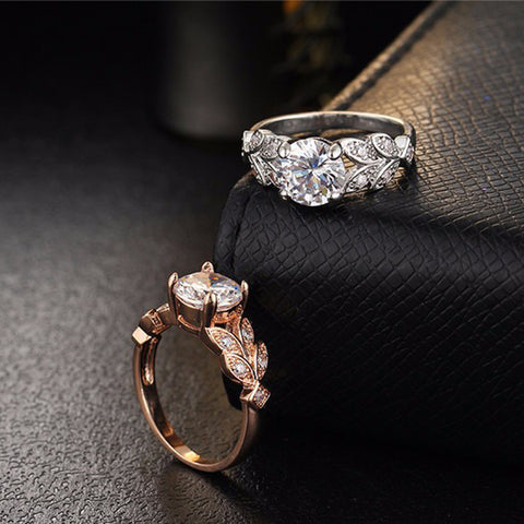 Flower Crystal With Rose Gold Ring
