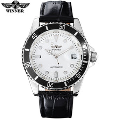 2018 WINNER Popular Luxury Automatic Self Wind Watch  - black dial, male leather band - Necessities Australia