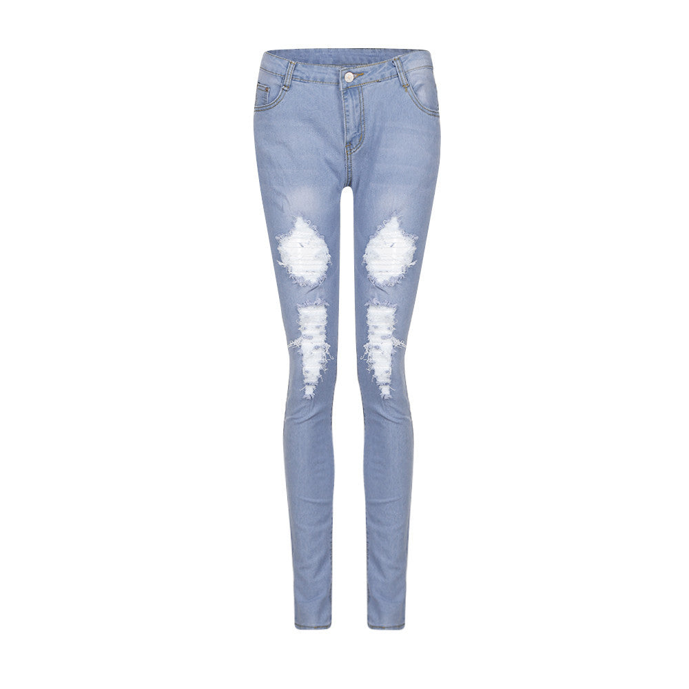 Skinny Ripped Hole Jeans High Waist Stretch Pencil Trousers