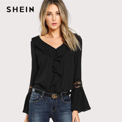 Black Ruffle Neck Lace Insert Pleated Casual Blouse - V Neck, Flare Sleeve - Necessities Australia