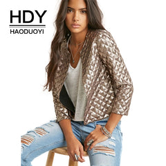 HDY Brand 2018 Golden Sequin 3/4 Sleeve Military Jackets - Casual Slim Coats - Necessities Australia