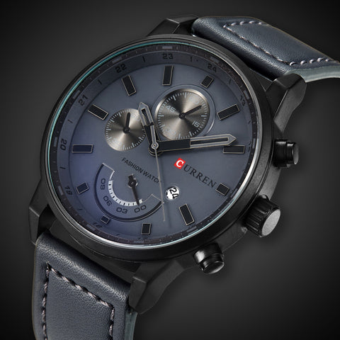 Fashion Casual Black Sport Analog Quartz Watch - Waterproof Leather - Necessities Australia