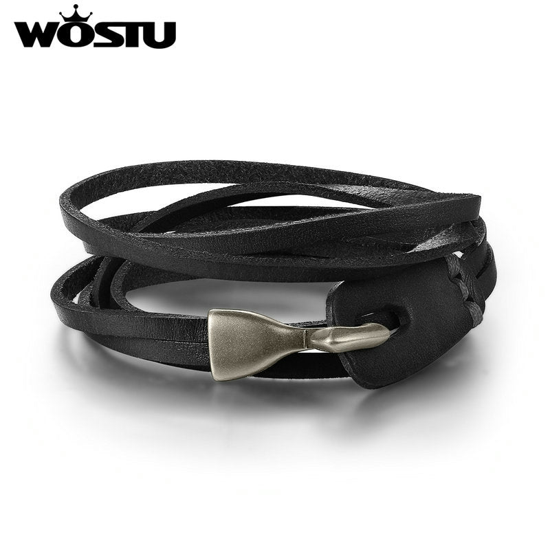 WOSTU Genuine Top Layer Leather Wrap Vintage Bracelet - Pulseira XCJ0289