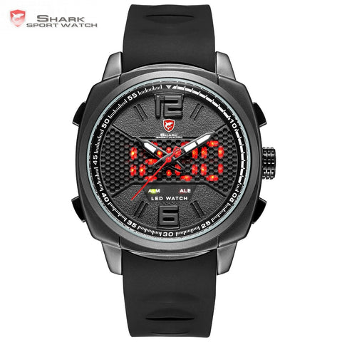 2018 New Whitetip Reef Shark Sport Watch - LED Dual Time Zone, Date Alarm, Top Brand Silicone Quartz - Necessities Australia